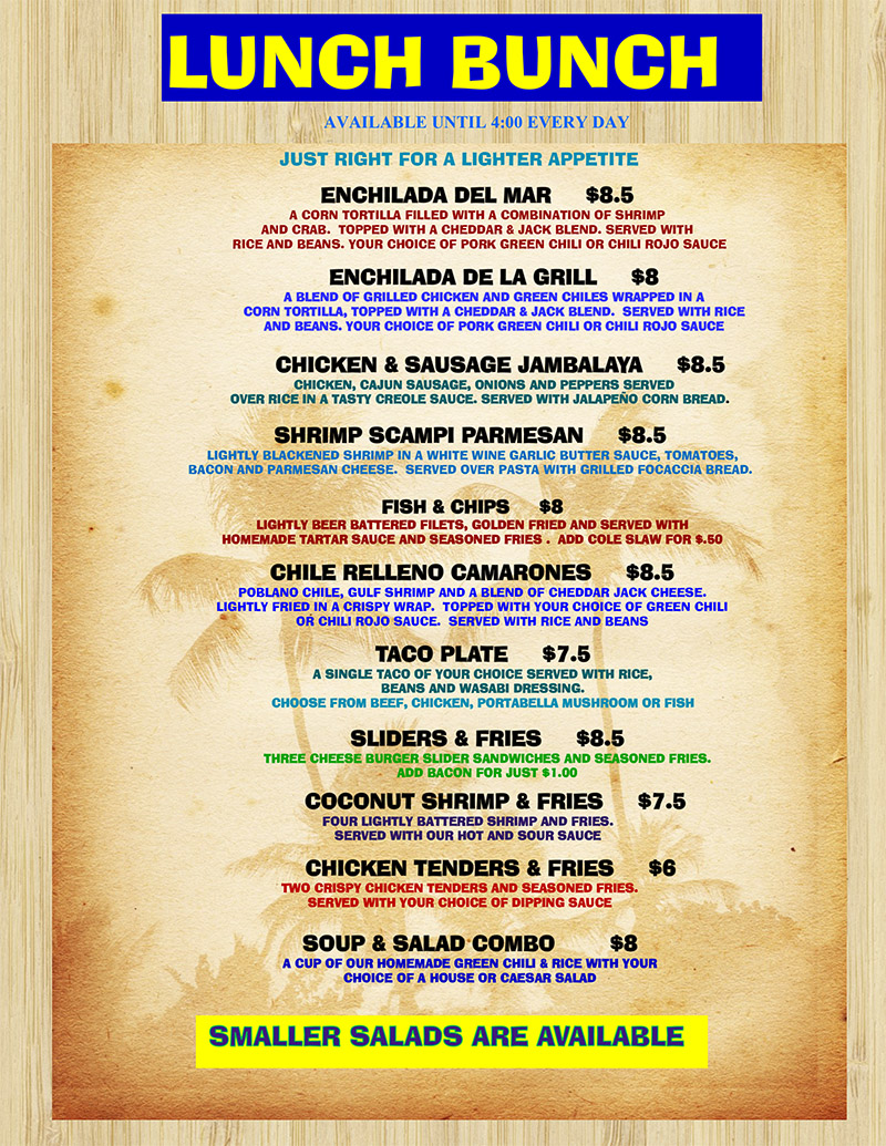 Island Grill Lunch Menu